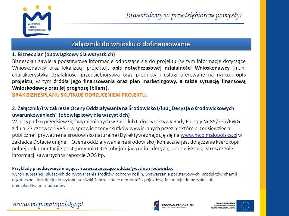Załączniki do wniosku o dofinansowanie