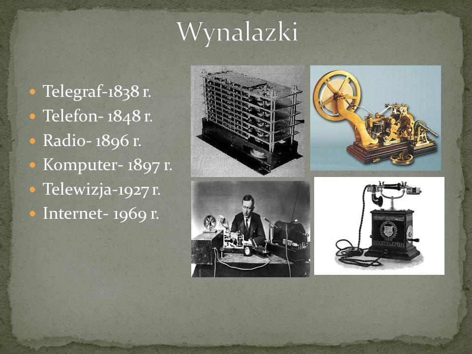 Wynalazki Telegraf-1838 r. Telefon- 1848 r. Radio- 1896 r.