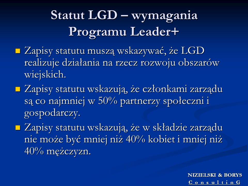 Statut LGD – wymagania Programu Leader+