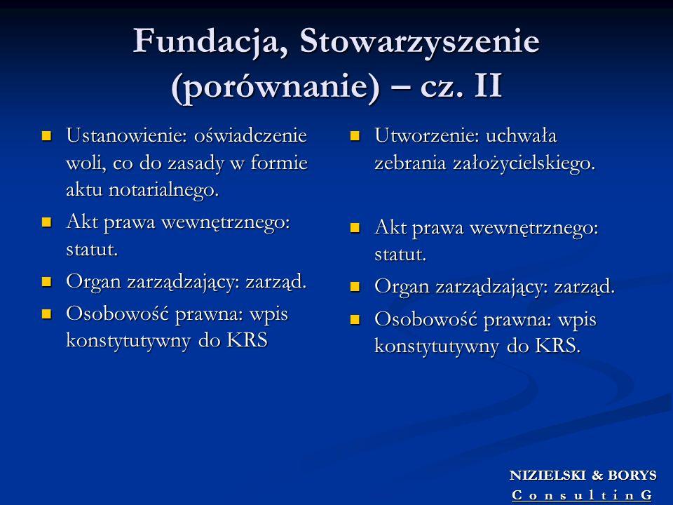 Fundacja, Stowarzyszenie (porównanie) – cz. II