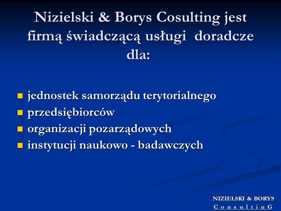 Nizielski & Borys Cosulting jest firmą świadczącą usługi doradcze dla: