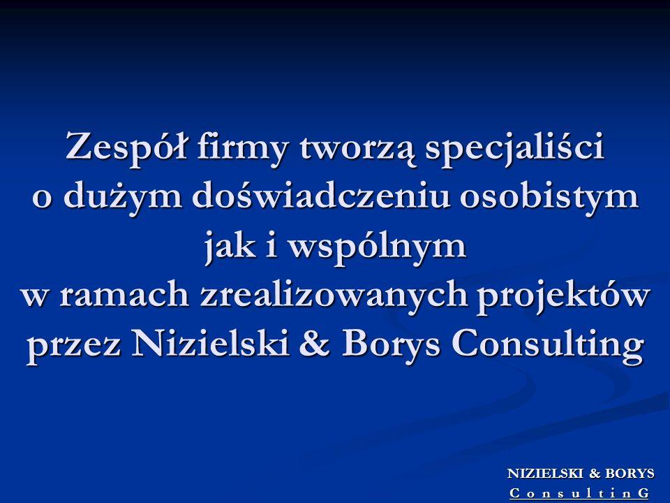 Zespół firmy tworzą specjaliści o dużym doświadczeniu osobistym jak i wspólnym w ramach zrealizowanych projektów przez Nizielski & Borys Consulting
