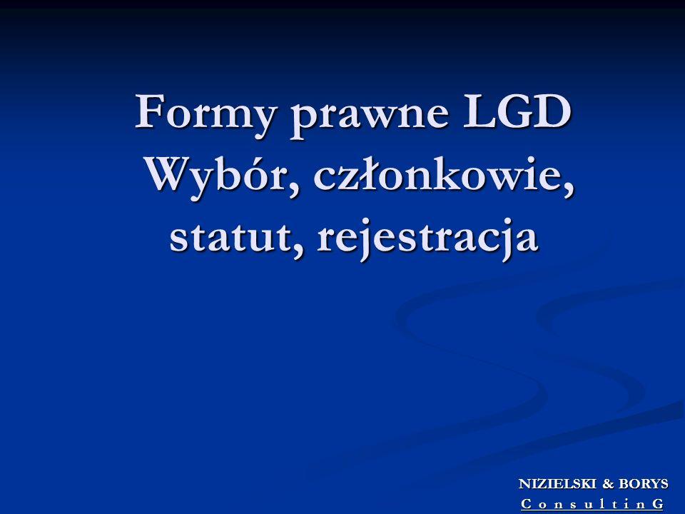Formy prawne LGD Wybór, członkowie, statut, rejestracja
