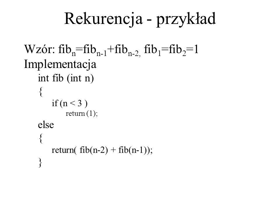 Rekurencja - przykład Wzór: fibn=fibn-1+fibn-2, fib1=fib2=1