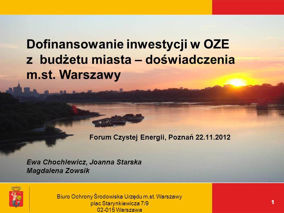 Dofinansowanie inwestycji w OZE z budżetu miasta – doświadczenia m. st