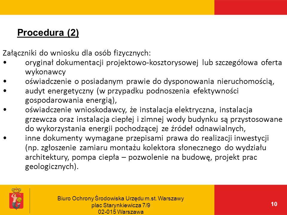 Procedura (2) Załączniki do wniosku dla osób fizycznych: