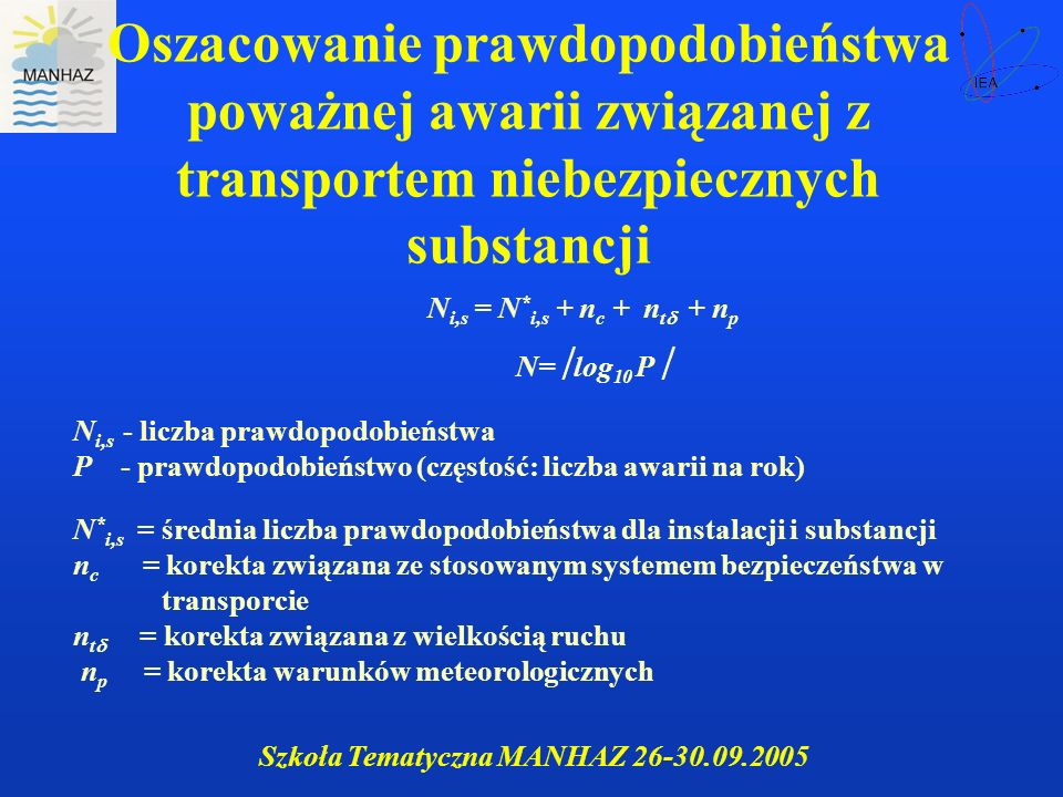 Oszacowanie prawdopodobieństwa poważnej awarii związanej z transportem niebezpiecznych substancji