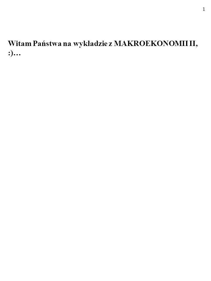 Witam Państwa na wykładzie z MAKROEKONOMII II, :)…