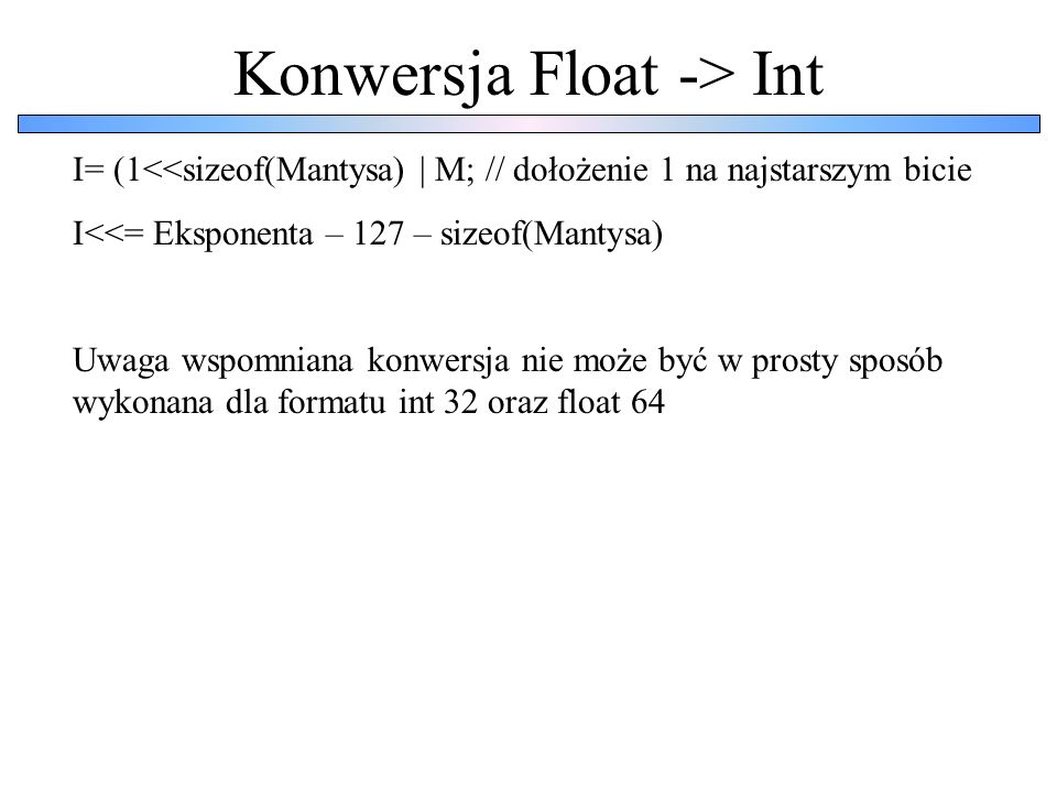 Konwersja Float -> Int
