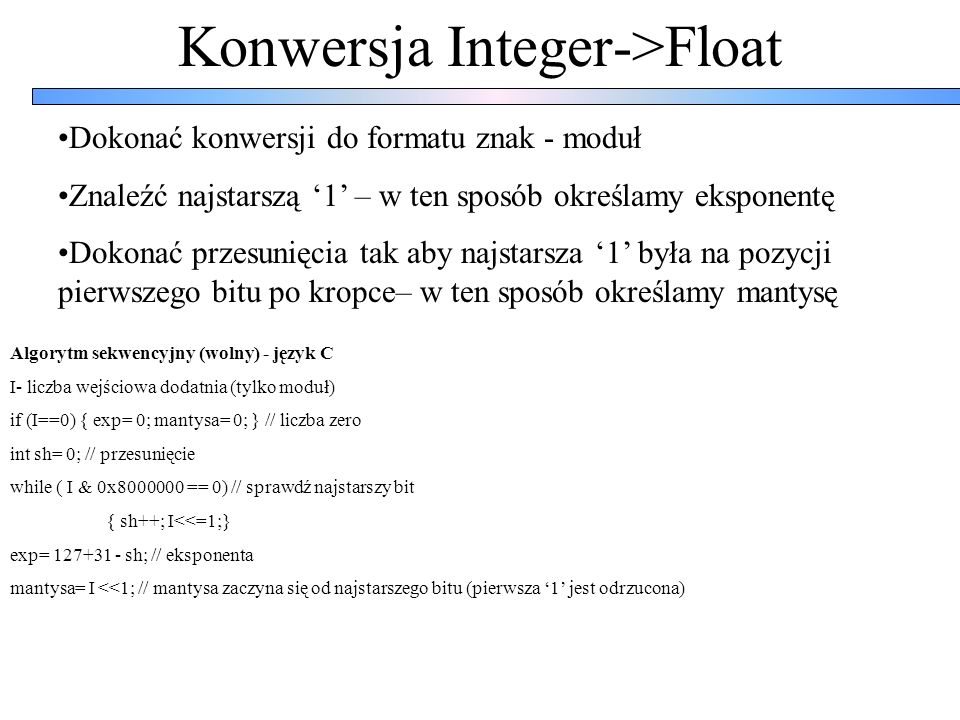 Konwersja Integer->Float