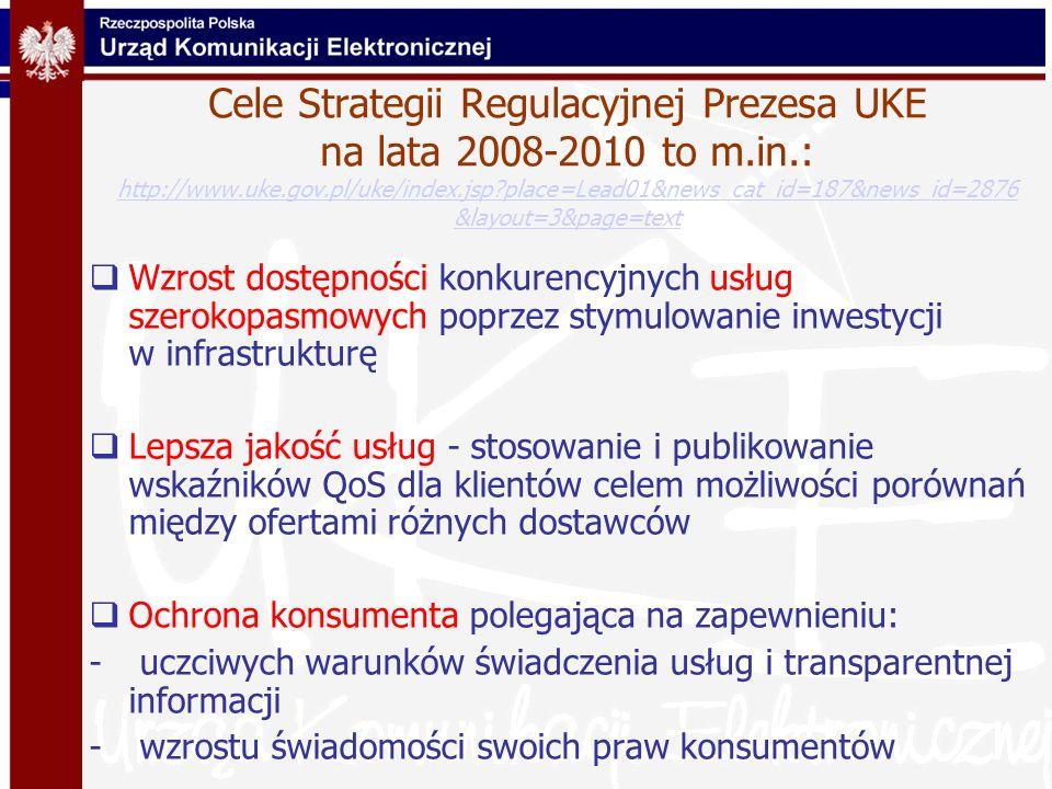 Cele Strategii Regulacyjnej Prezesa UKE na lata 2008-2010 to m. in