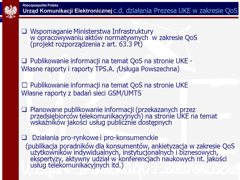 c.d. działania Prezesa UKE w zakresie QoS