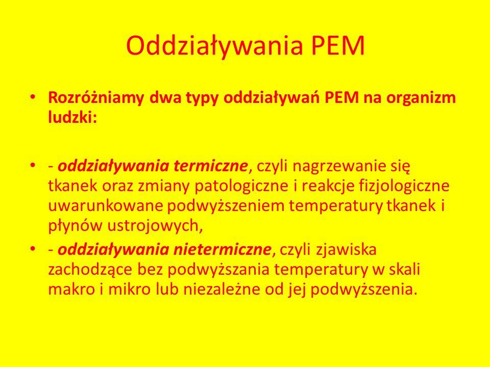 Oddziaływania PEM Rozróżniamy dwa typy oddziaływań PEM na organizm ludzki: