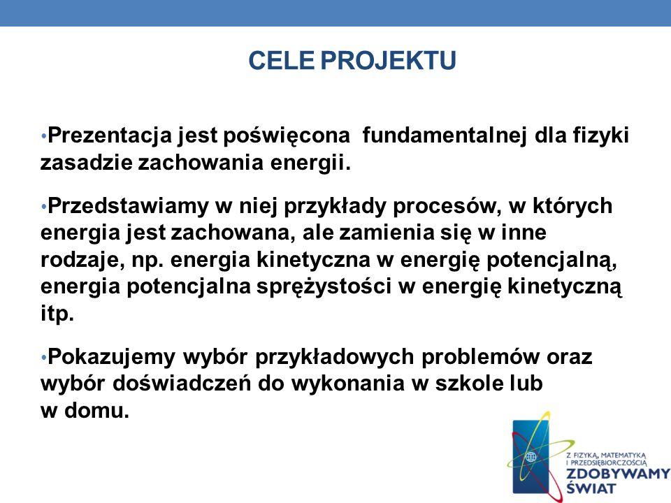 Cele projektuPrezentacja jest poświęcona fundamentalnej dla fizyki zasadzie zachowania energii.