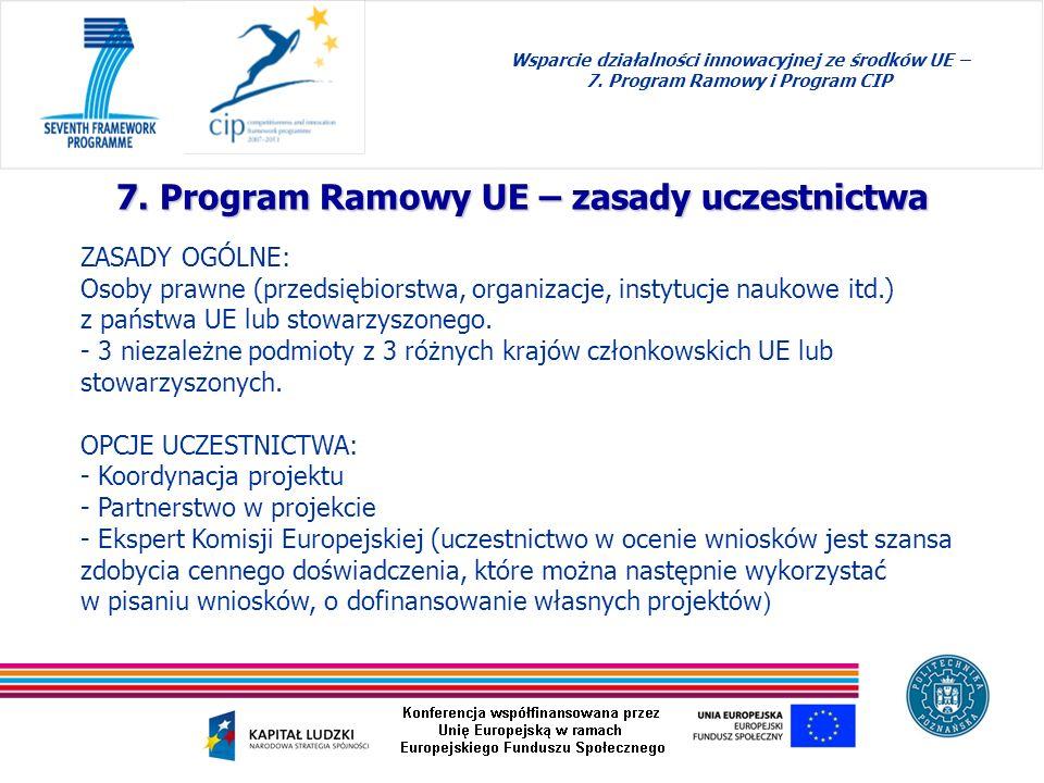 7. Program Ramowy UE – zasady uczestnictwa