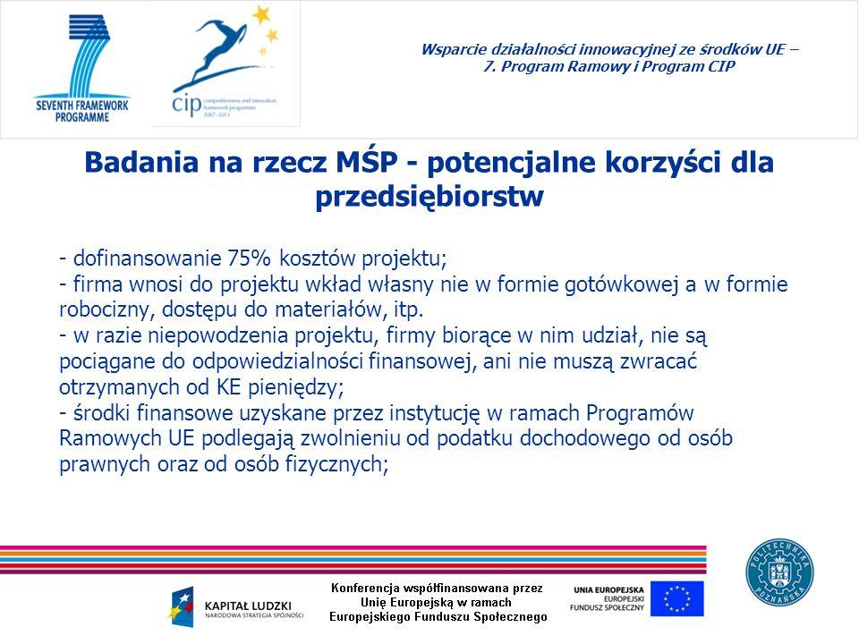 Badania na rzecz MŚP - potencjalne korzyści dla przedsiębiorstw