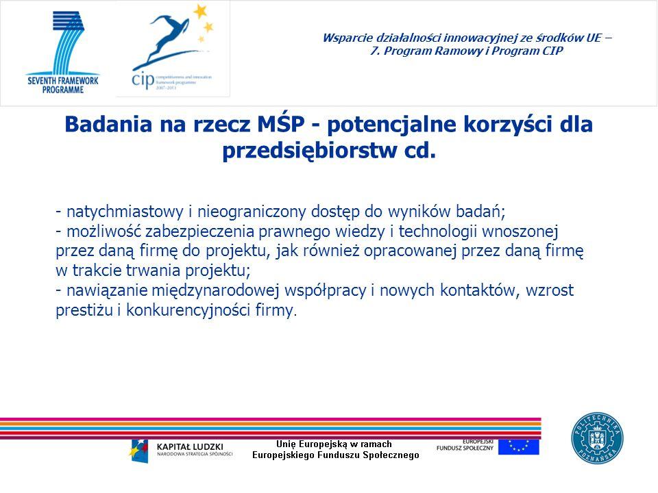 Badania na rzecz MŚP - potencjalne korzyści dla przedsiębiorstw cd.