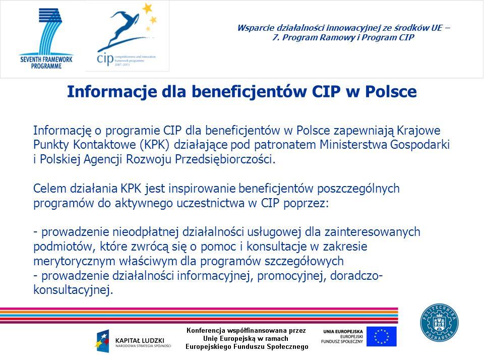 Informacje dla beneficjentów CIP w Polsce