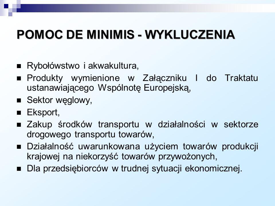 POMOC DE MINIMIS - WYKLUCZENIA