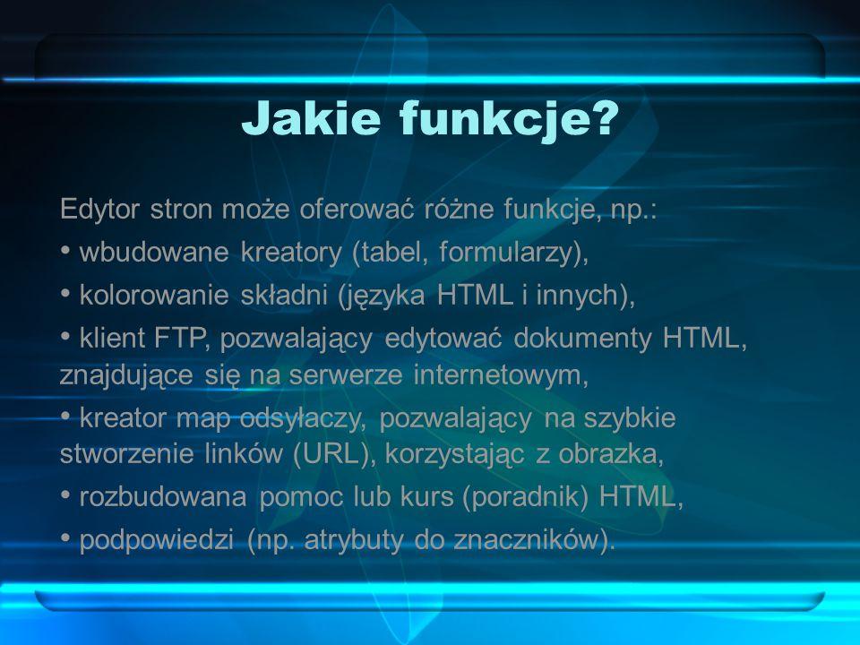Jakie funkcje Edytor stron może oferować różne funkcje, np.: