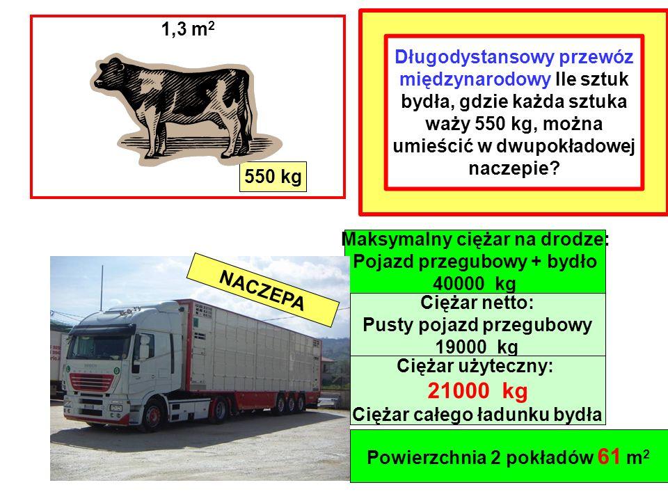 Długodystansowy przewóz międzynarodowy Ile sztuk bydła, gdzie każda sztuka waży 550 kg, można umieścić w dwupokładowej naczepie