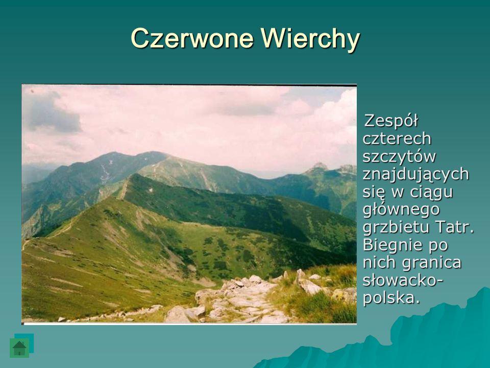 Czerwone WierchyZespół czterech szczytów znajdujących się w ciągu głównego grzbietu Tatr.