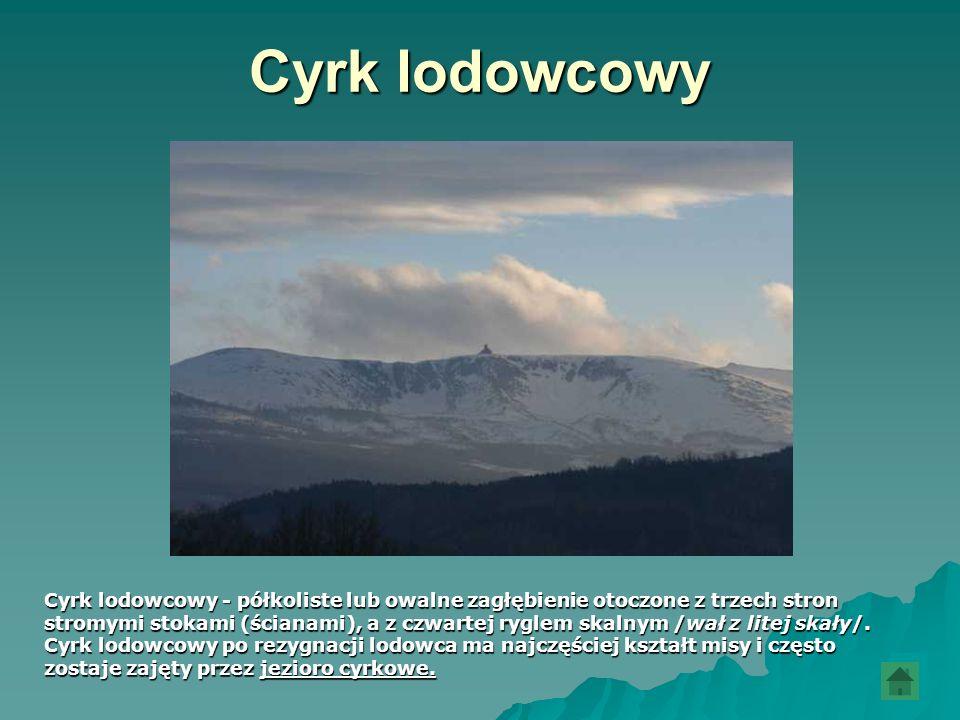 Cyrk lodowcowy Cyrk lodowcowy - półkoliste lub owalne zagłębienie otoczone z trzech stron.