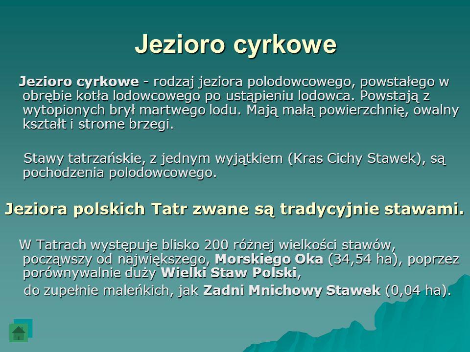 Jezioro cyrkowe Jeziora polskich Tatr zwane są tradycyjnie stawami.