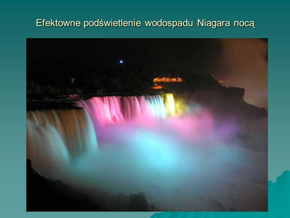 Efektowne podświetlenie wodospadu Niagara nocą