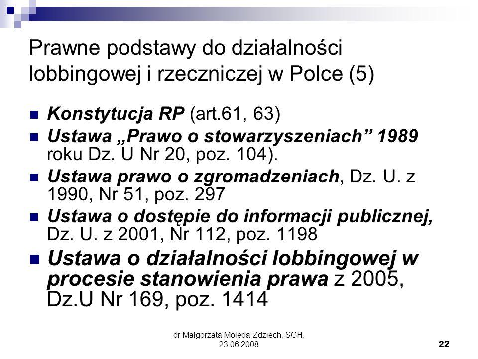 Prawne podstawy do działalności lobbingowej i rzeczniczej w Polce (5)