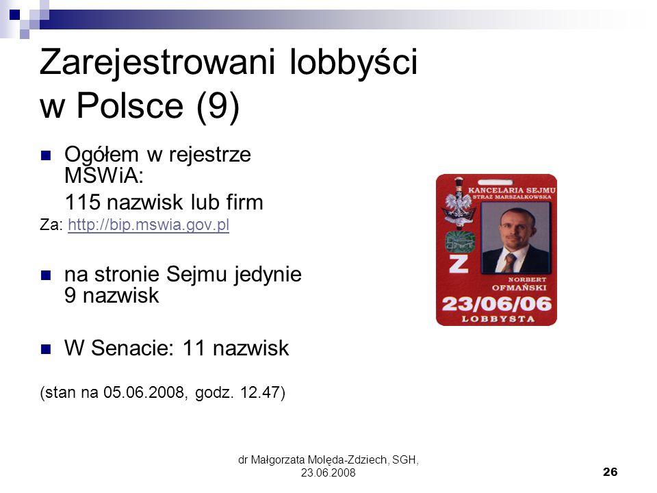 Zarejestrowani lobbyści w Polsce (9)