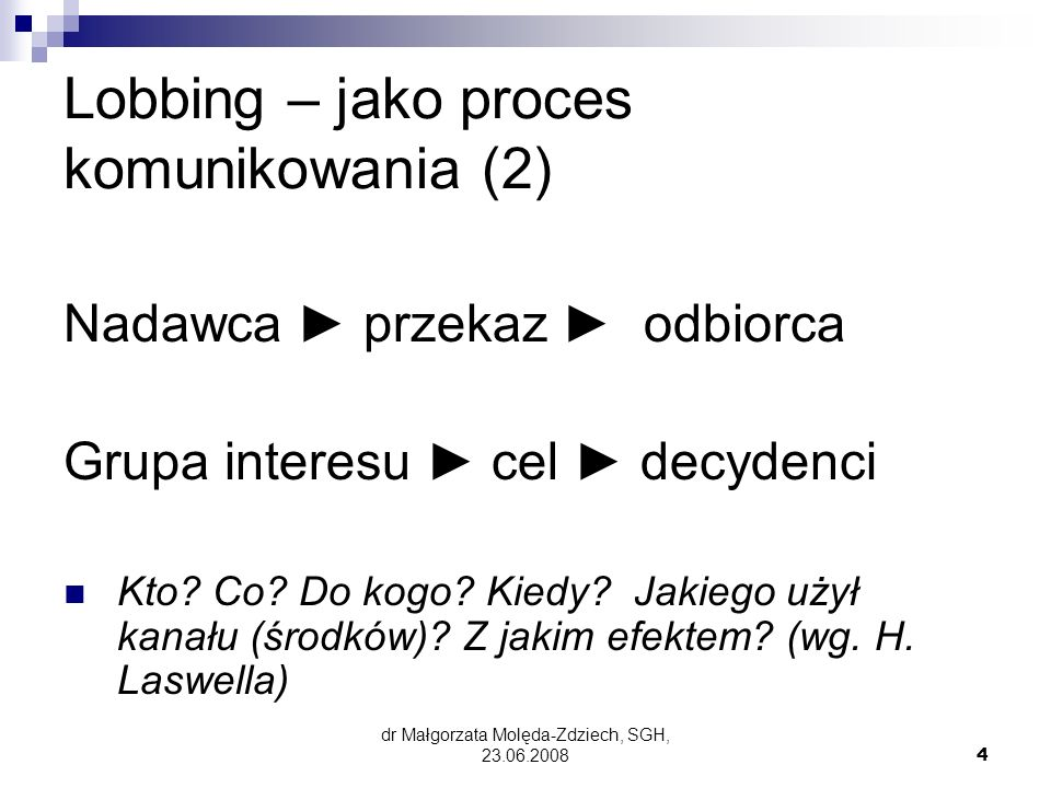 Lobbing – jako proces komunikowania (2)