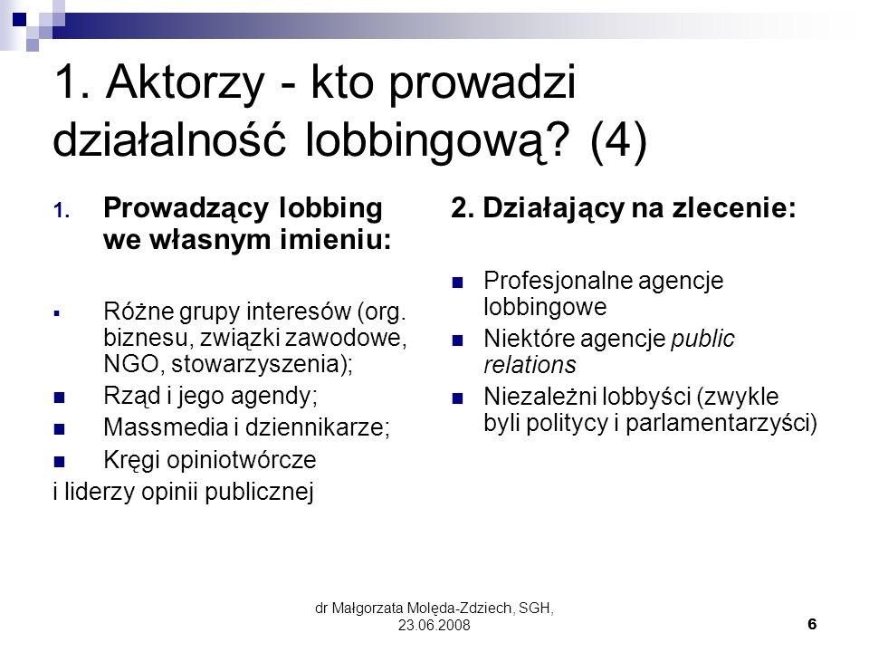 1. Aktorzy - kto prowadzi działalność lobbingową (4)