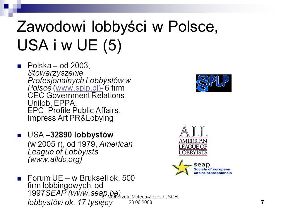 Zawodowi lobbyści w Polsce, USA i w UE (5)