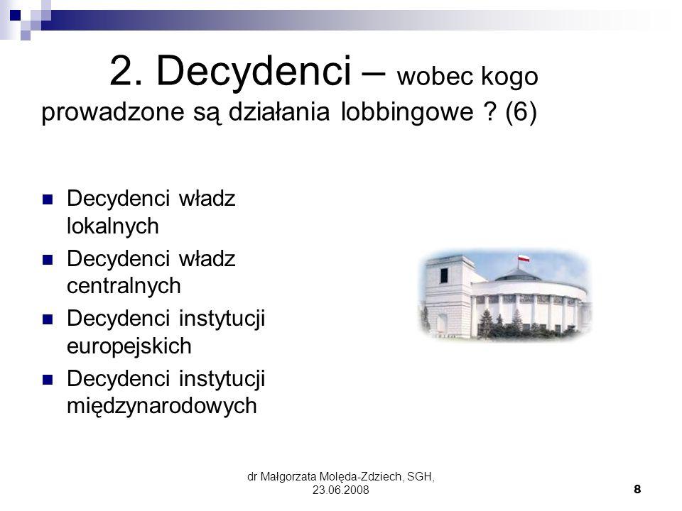 2. Decydenci – wobec kogo prowadzone są działania lobbingowe (6)