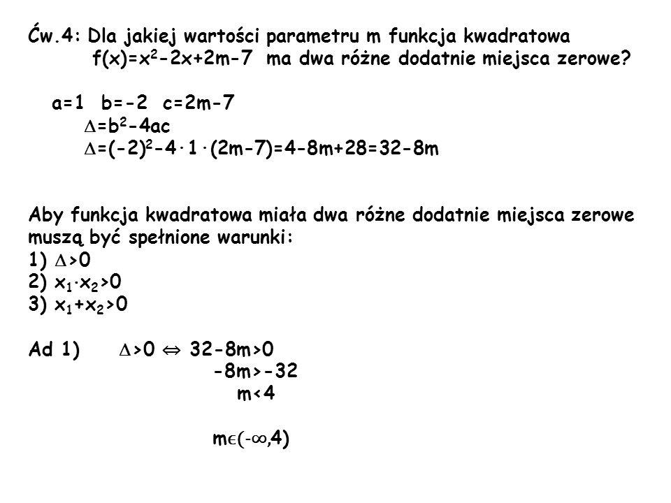 Ćw.4: Dla jakiej wartości parametru m funkcja kwadratowa