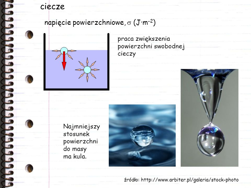 ciecze napięcie powierzchniowe, s (J·m-2)