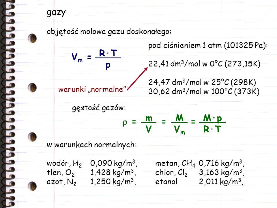 gazy Vm = R·T p r = = = M·p R·T m V M Vm