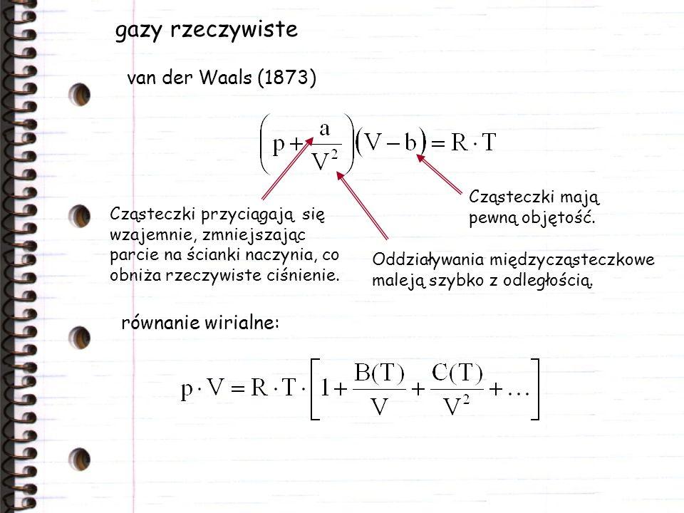 gazy rzeczywiste van der Waals (1873) równanie wirialne: