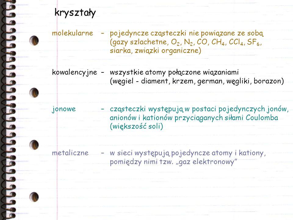kryształy molekularne – pojedyncze cząsteczki nie powiązane ze sobą (gazy szlachetne, O2, N2, CO, CH4, CCl4, SF6, siarka, związki organiczne)