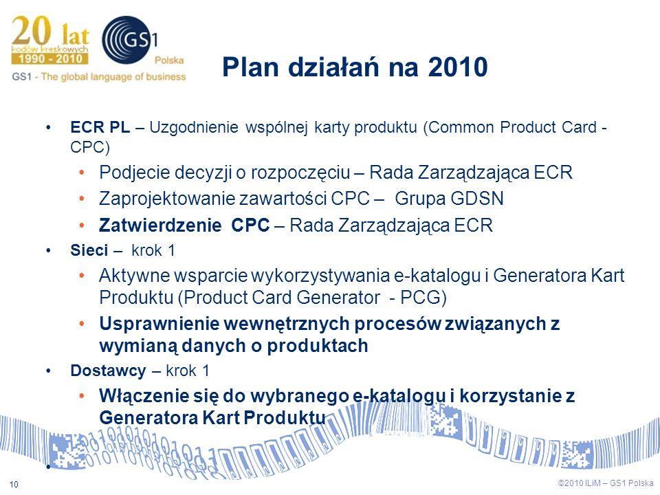 Plan działań na 2010 ECR PL – Uzgodnienie wspólnej karty produktu (Common Product Card - CPC) Podjecie decyzji o rozpoczęciu – Rada Zarządzająca ECR.