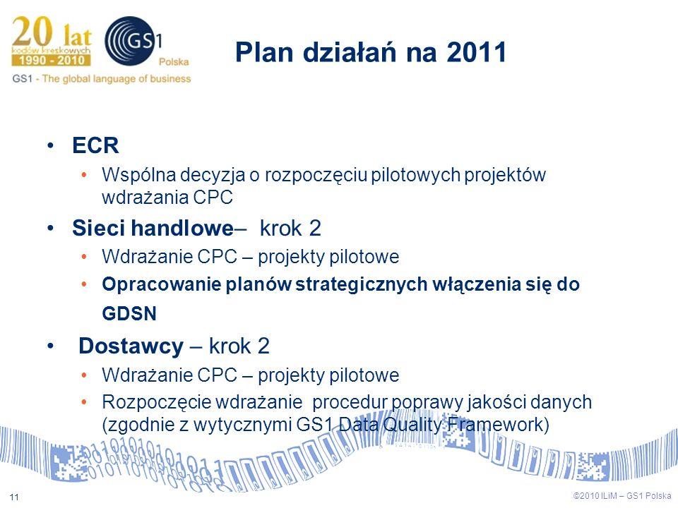 Plan działań na 2011 ECR Sieci handlowe– krok 2 Dostawcy – krok 2