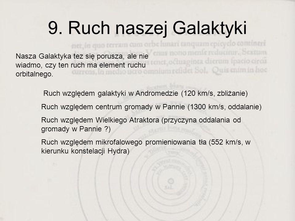 9. Ruch naszej Galaktyki Nasza Galaktyka tez się porusza, ale nie wiadmo, czy ten ruch ma element ruchu orbitalnego.