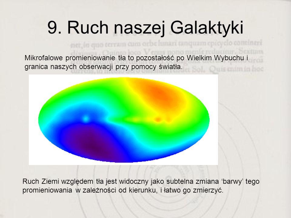9. Ruch naszej Galaktyki Mikrofalowe promieniowanie tła to pozostałość po Wielkim Wybuchu i granica naszych obserwacji przy pomocy światła.
