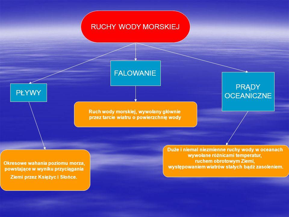 RUCHY WODY MORSKIEJ FALOWANIE PRĄDY OCEANICZNE PŁYWY
