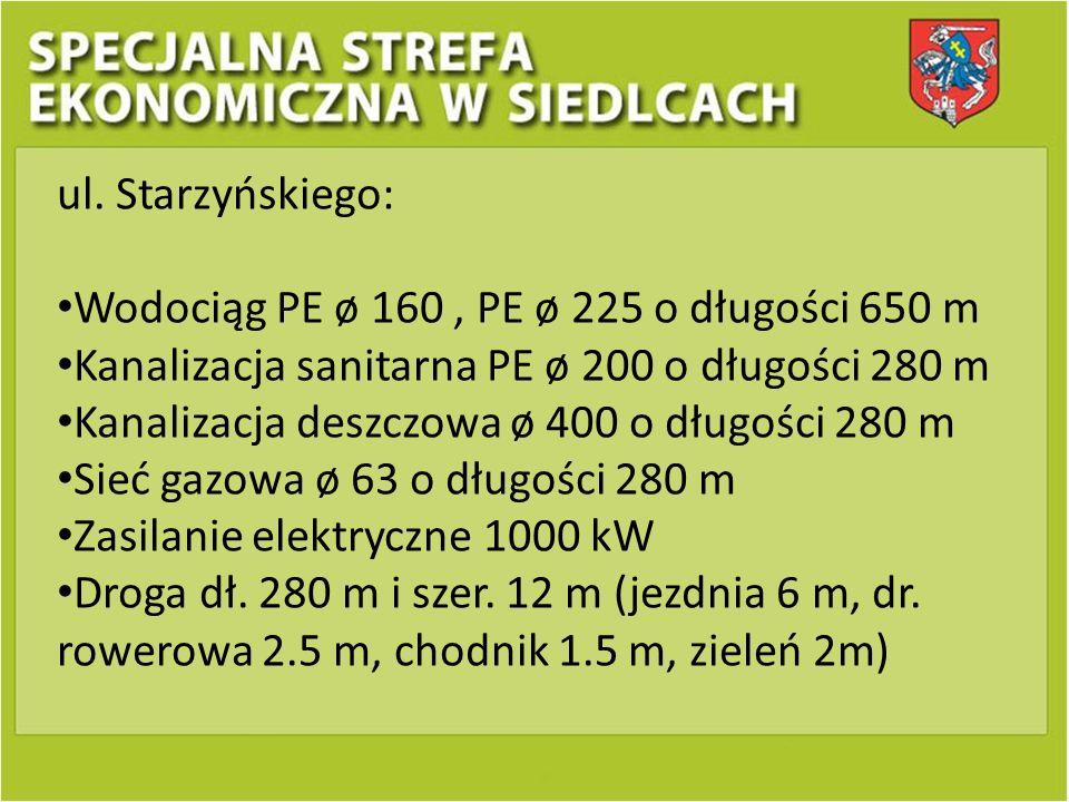 ul. Starzyńskiego: Wodociąg PE ø 160 , PE ø 225 o długości 650 m. Kanalizacja sanitarna PE ø 200 o długości 280 m.