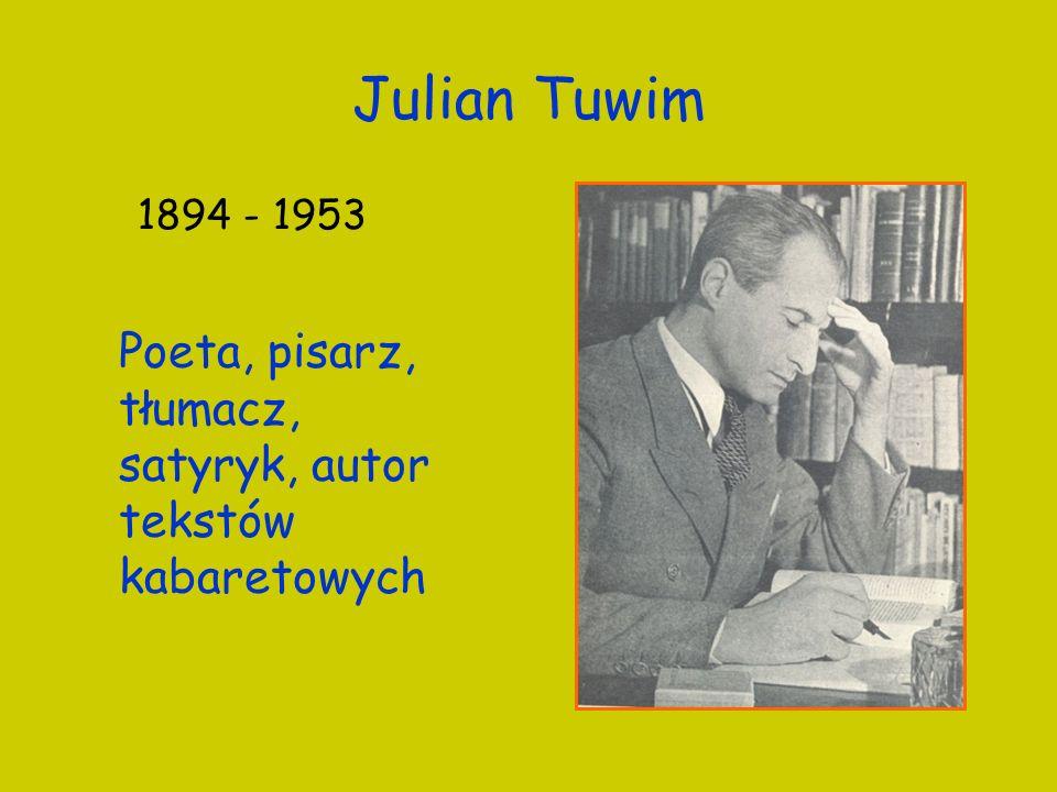 Julian Tuwim 1894 - 1953 Poeta, pisarz, tłumacz, satyryk, autor tekstów kabaretowych 2