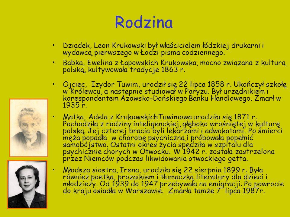 RodzinaDziadek, Leon Krukowski był właścicielem łódzkiej drukarni i wydawcą pierwszego w Łodzi pisma codziennego.