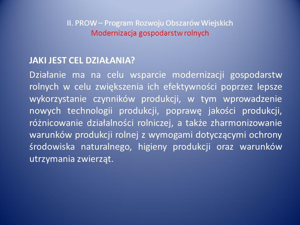 II. PROW – Program Rozwoju Obszarów Wiejskich Modernizacja gospodarstw rolnych