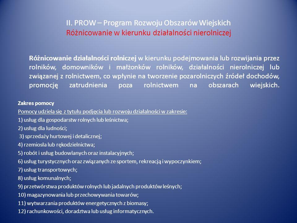 II. PROW – Program Rozwoju Obszarów Wiejskich Różnicowanie w kierunku działalności nierolniczej